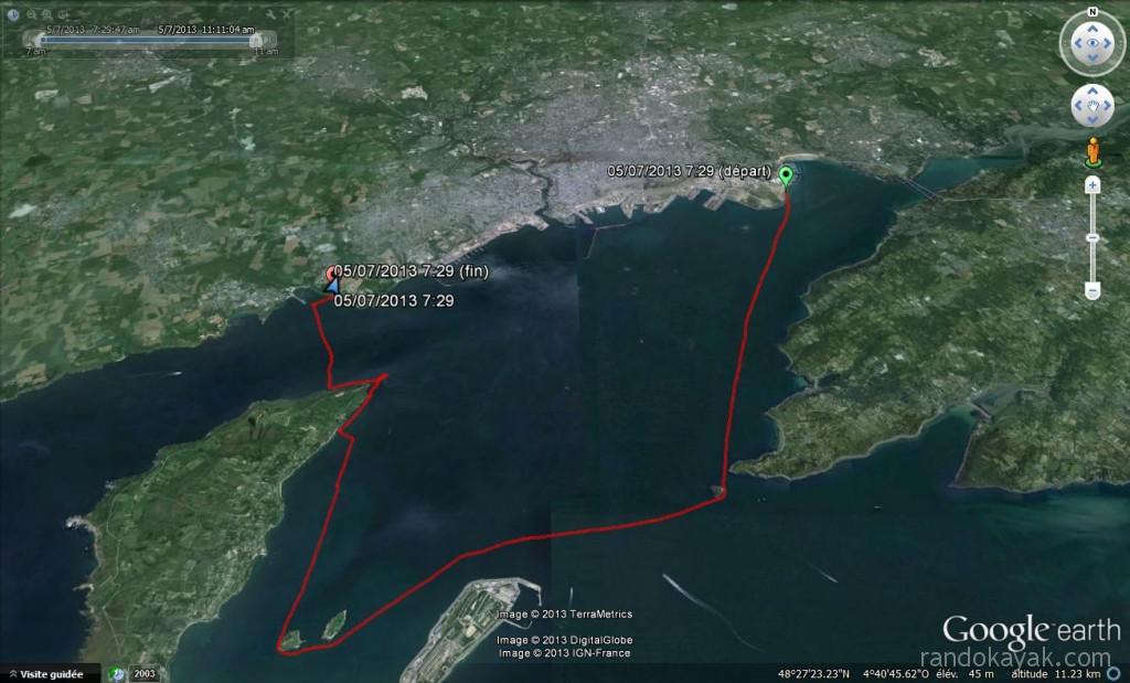Tracé de notre randonnée en kayak de mer, de Brest à l'île des morts, en passant par l'île Ronde, l'île Trébéron. Retour par la pointe des Espagnols et le phare du Portzic.
