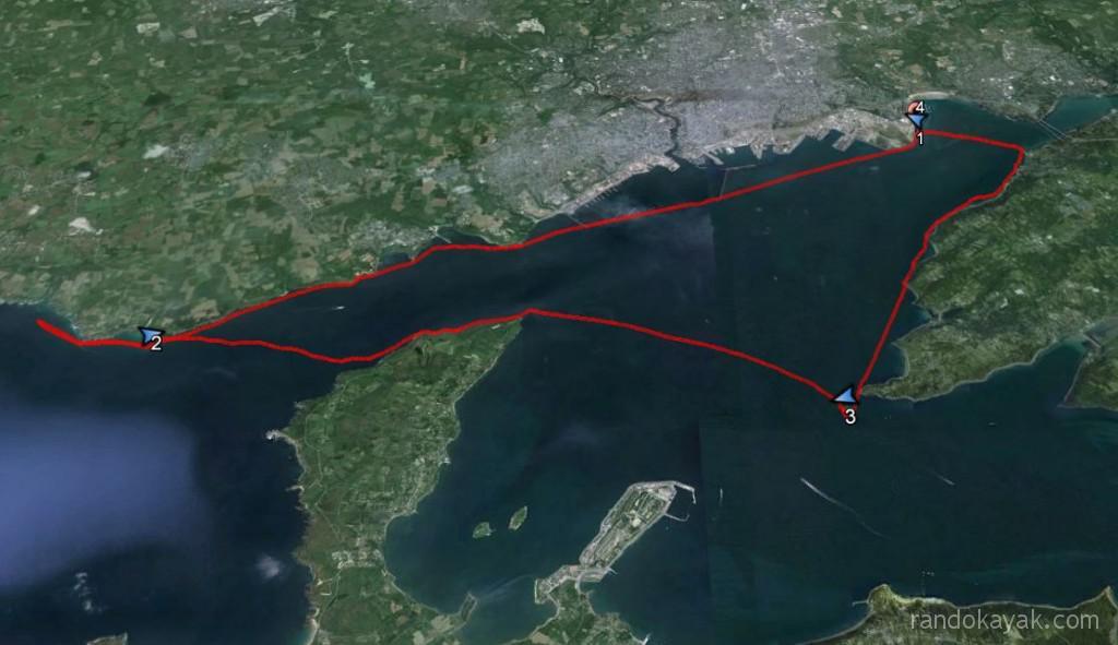 Tracé de ma randonnée en kayak de mer de 23 miles nautiques. De Brest au Déolen, en passant par la pointe du Minou, la pointe de Cournouaille, la pointe des Espagnols, la pointe d'Armorique puis la pointe de Keraliou avant de rentrer à Brest.