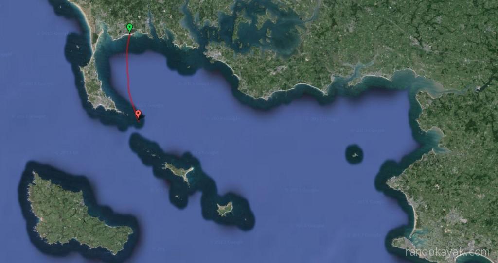 Tracé de ma randonnée en kayak de mer, de la pointe Churchill au phare de la Teignouse.