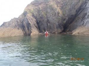 Jef en kayak de mer à l'île Ronde