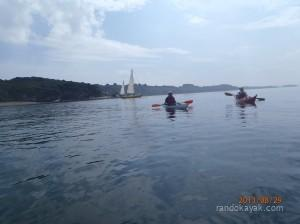 en kayak, à la pointe d'Armorique