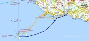 Itinéraire et tracé de notre randonnée en kayak de mer de Kerfany-les-Pins à l'île du Loc'h dans l'archipel des îles de Glénan, en 2 jours.