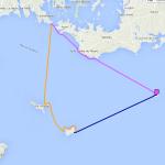Itinéraire et tracé de notre randonnée en kayak de mer de la pointe de Kerpenhir aux îles de Houat, Hœdic et Dumet, en 3 jours.