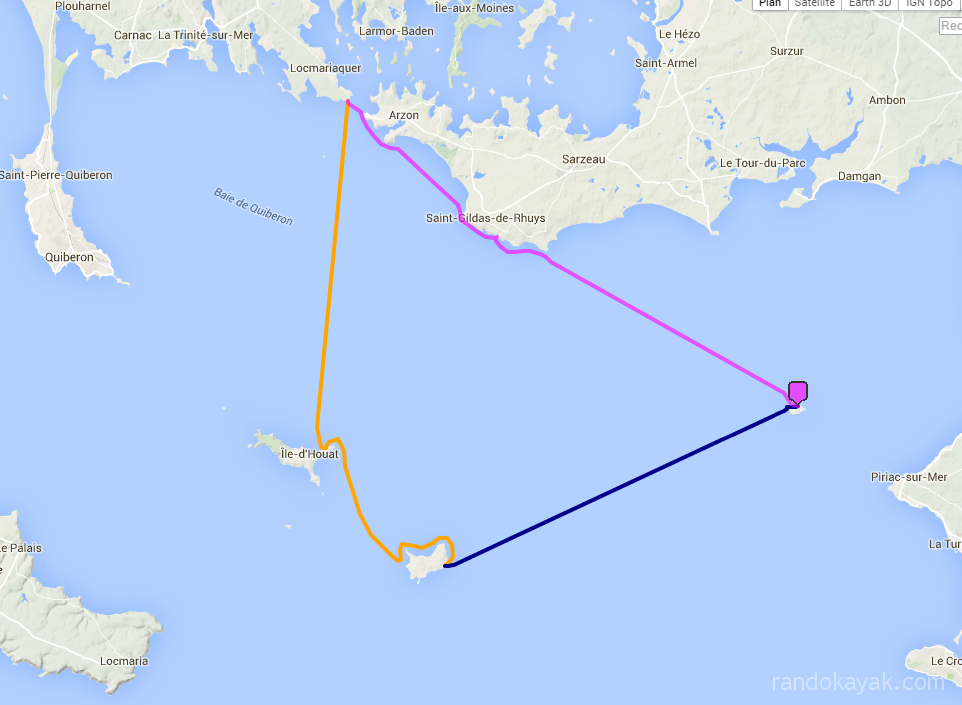 Tracé de notre randonnée en kayak de mer. De Kerfany-les-Pins à l'île du Loc'h dans l'archipel des îles de Glénan. L'aller retour totalisant 29 miles nautiques en deux journées.