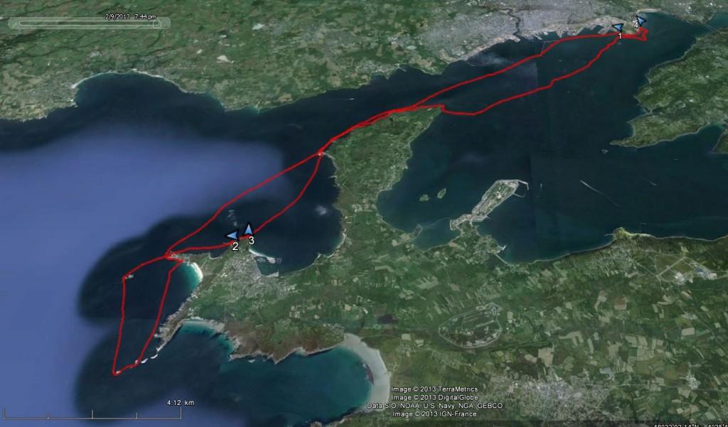 Tracé de ma randonnée en kayak de mer. De Brest aux Tas de Pois, en passant par la Pointe des Capucins, la pointe du Grand Gouin, le sémaphore du Toulinguet et le rocher du Lion.