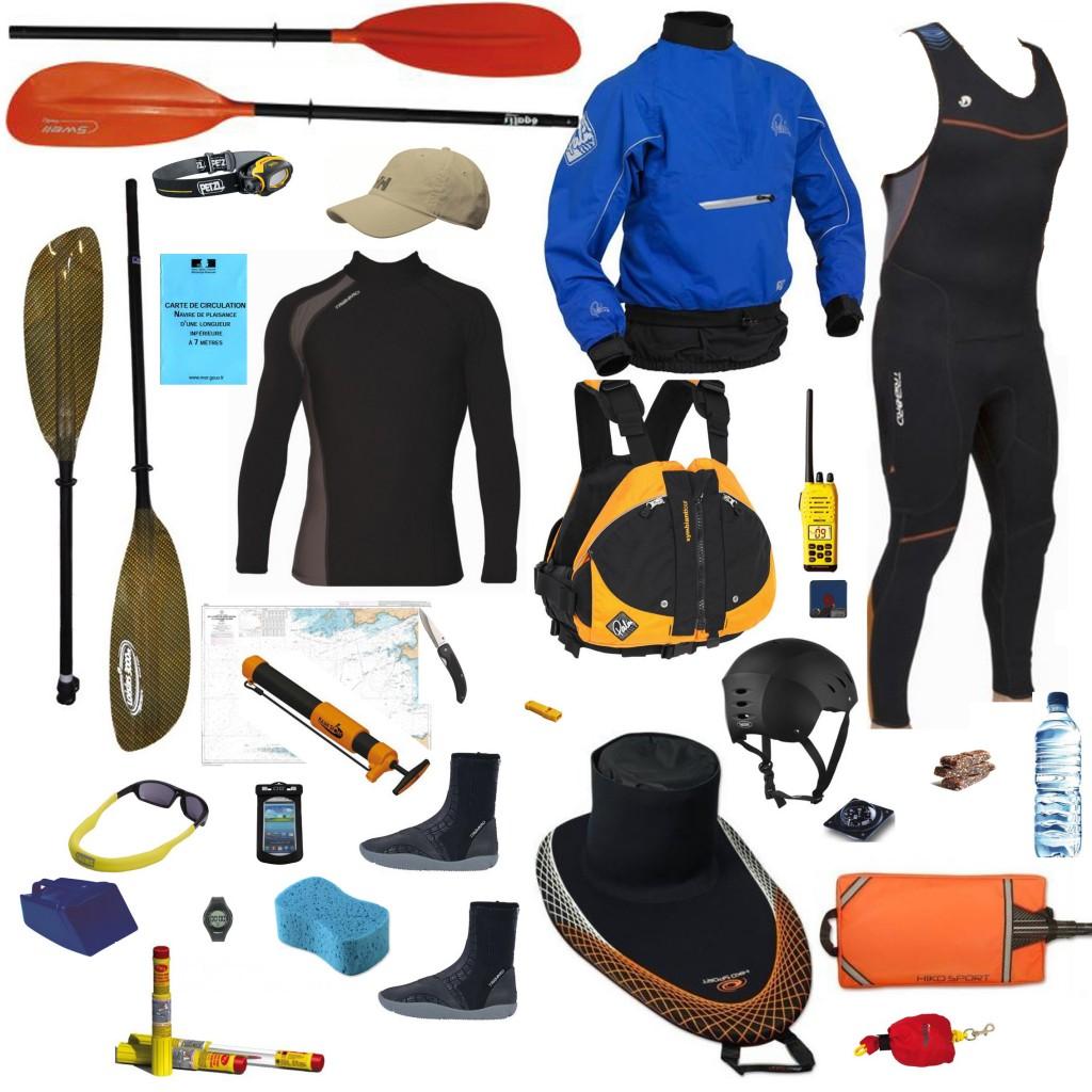 Équipements obligatoires et recommandés pour la pratique du kayak de mer.