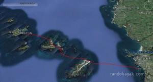 Tracé de l'aller de notre randonnée en kayak de mer. De la pointe des Renards à l'île Molène. L'aller retour totalisant19 miles nautiques en une journée.