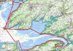Itinéraire et tracé de ma randonnée solitaire en kayak de mer du tour de la rade de Brest en hiver, avec des vents de 7 à 8 Beaufort, en 3 jours.