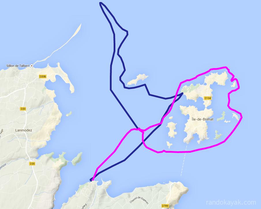 Itinéraire et tracé de notre randonnée en kayak de mer, de Loguivy à l'île d'Olone en passant par l'île de Bréhat. En 2 jours.