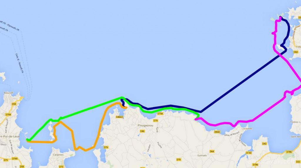 Tracé de notre randonnée en kayak de mer en Bretagne. En 5 jours, nous avons fait un aller et retour de 49 miles nautiques, entre Finistère et Côtes-d'Armor, de Saint Pol de Léon à l'île Agathon.