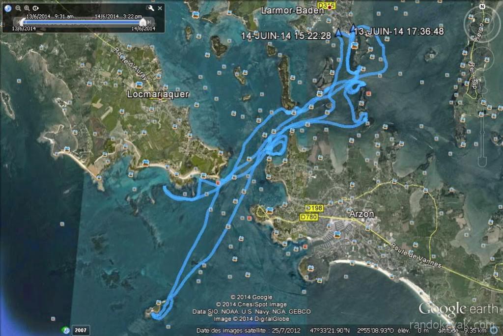 Itinéraire et tracé de notre randonnée en kayak de mer dans le Golfe du Morbihan, en passant par l'île de Méaban. En 2 jours.