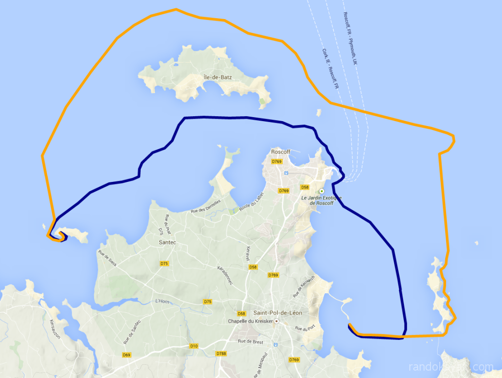 Tracé de notre randonnée d'un jour en kayak de mer. Nous avons fait un aller et retour de 25 miles nautiques, de la cale du centre nautique de Saint Pol de Léon, en passant par les Duons, l'île de Batz et l'île de Sieck.