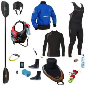 Equipement du kayakiste en riviere