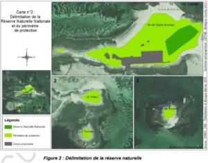 Délimitation de la Réserve naturelle Nationale Saint-Nicolas des Glénan.