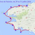 Itinéraire et tracé de notre grande randonnée du Tour du Finistère 2016 en kayak de mer. En 9 jours, du 20 au 31 juillet 2016.