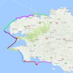 Tour du Finistère en kayak de mer, à 3, 192 milles en 9 étapes.