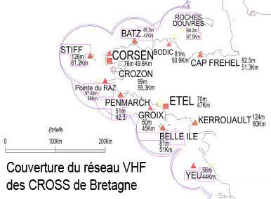 Couverture du reseau VHF des CROSS de Bretagne