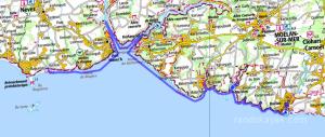 Itinéraire et tracé de notre randonnée en kayak de mer de Doélan à Raguénez, en 2 jours.