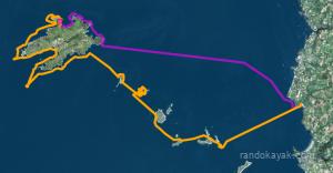 Itinéraire et tracé de notre randonnée en kayak de mer du tour de l'île d'Ouessant, en passant par l'île de Molène, en 3 jours.