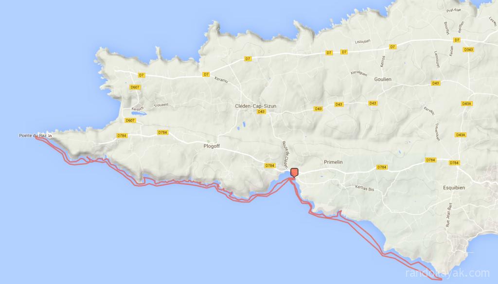 Itinéraire et tracé de notre randonnée en kayak de mer sur la côte sud du Cap Sizun, en 3 jours