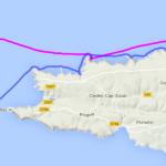 Itinéraire et tracé de notre randonnée en kayak de mer, de Porz Lanvers à l'île de Sein, en passant par le phare de la Vieille et le phare de Tévennec, en 2 jours.