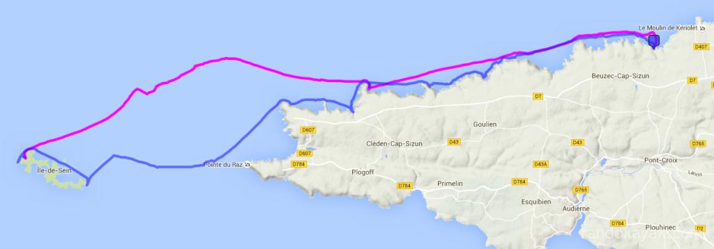Randonnée à 2, de Porz Lanvers à l'île de Sein. En passant par le phare de la Vieille à l'aller et le phare de Tévennec au retour, 27 nautiques
