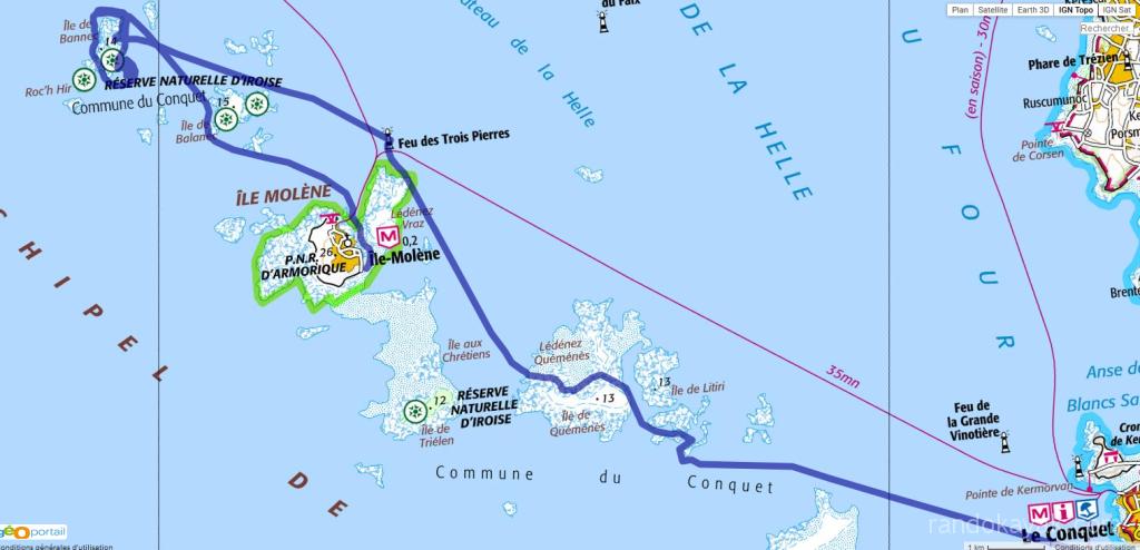Randonnée solitaire en kayak de mer - de Porz Liogan à l'île Molène, en passant par Bannec