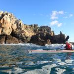Rase cailloux en kayak de mer à la pointe de Dinan.