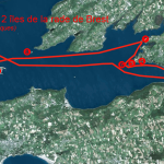 Itinéraire et tracé de ma randonnée solitaire en kayak de mer des 12 îles en rade de Brest. 1 île de Térénez, 2 île d'Arun, 3 île de Tibidy, 4 île Grise, 5 Petite île du Bindy, 6 Grande île du Bindy, 7 île de la pointe du Château, 8 île Ronde, 9 île Longue, 10 île Trébéron, 11 île des Morts, 12 île du Renard. En 1 jour.