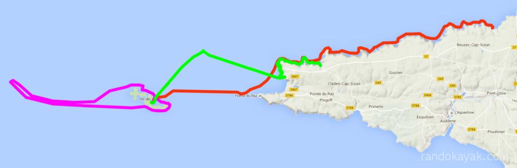 Itinéraire et tracé de notre randonnée en kayak de mer, de Pors Lanvers à Pors Théolen, en passant pas Sein, la Vieille, Ar-men et Tévennec, en 3 jours.