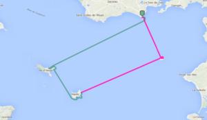 Tracé de notre randonnée de 2 jours en kayak de mer. Nous avons fait un aller et retour de 41 miles nautiques de la pointe de Penvens aux îles Dumet, Hoëdic et Houat.