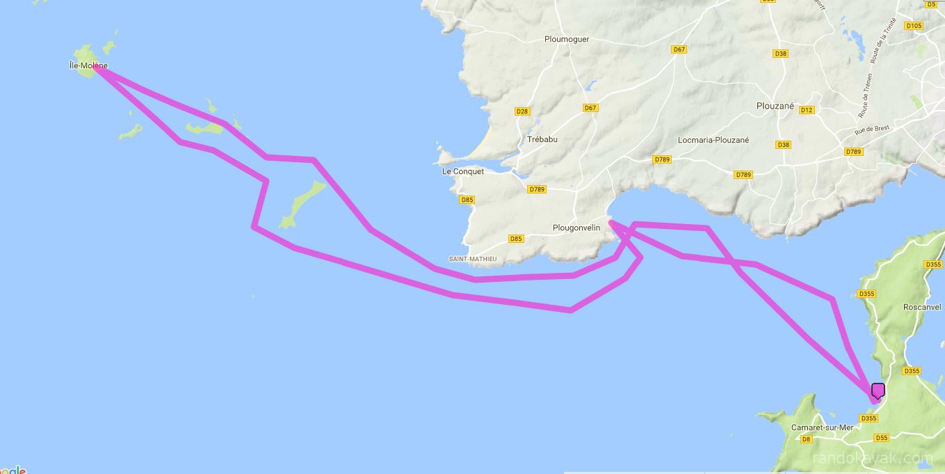 Itinéraire et tracé de notre randonnée en kayak de mer de Trez-Rouz à Molène. En 2 jours.