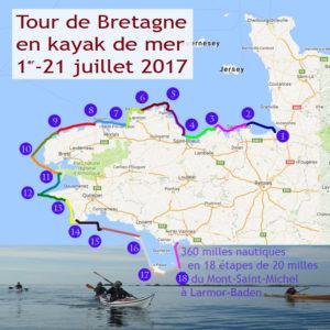 Tour de Bretagne en kayak de mer, du 1er au 21 juillet 2017.