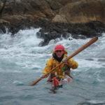 Jef en kayak de mer, lors de la journée sécurité organisée par CK/mer - Photo de Sandie Desbois.