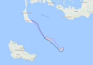 Itinéraire et tracé de notre randonnée en kayak de mer de Port Haliguen à l'île de Hoedic. En passant par la chaussée du Béniguet et l'île d'Houat, 32 nautiques en 2 jours.