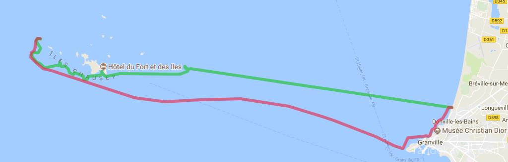 Itinéraire et tracé de notre randonnée en kayak de mer de Granville à l'archipel de Chausey, en 2 jours.