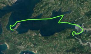 Itinéraire et tracé de notre randonnée en kayak de mer, les 12 îles en rade de Brest. 1 île de Térénez, 2 île d'Arun, 3 île de Tibidy, 4 île Grise, 5 Petite île du Bindy, 6 Grande île du Bindy, 7 île de la pointe du Château, 8 île Ronde, 9 île Longue, 10 île Trébéron, 11 île des Morts, 12 île du Renard. En 1 jour.