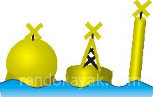 Marque spéciale De gauche à droite : bouée, bouée charpente et Espar.