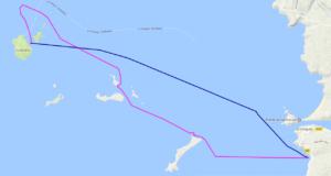 Itinéraire et tracé de ma randonnée solitaire en kayak de mer de PorsLiogan à l'île Molène, en 1 jour.