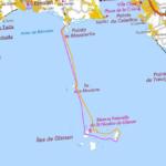 Itinéraire et tracé de notre randonnée en kayak de mer de Mousterlin à Glénan, en 2 jours.
