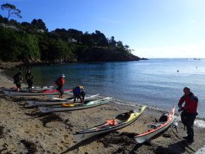 Départ de randonnée en kayak de mer à Cancale.