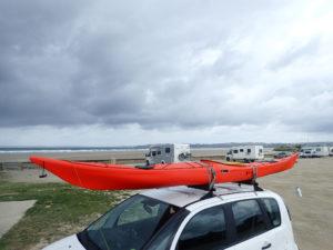 Kayak de mer Romany Sport PE, sur la plage de Lestrevet à Plomodiern.
