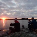 Tour de Bretagne en kayak de mer, 12 juillet, coucher de soleil à l'île d'Er.