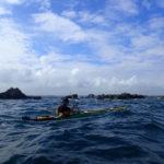Tour de Bretagne en kayak de mer, 13 juillet, en route pour l'île Tomé.