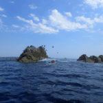 Tour de Bretagne en kayak de mer, 18 juillet, les roches du Corbin.