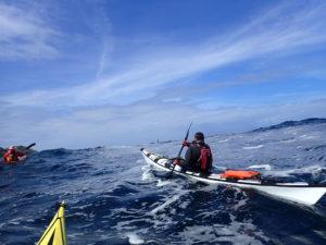 Grande randonnée en kayak de mer du Tour de Bretagne, 20 juillet, traversée de la baie des Trépassés.