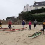 Tour de Bretagne en kayak de mer, 23 juillet, départ de la plage Saint Julien à Plouhinec.