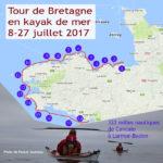 Grande randonnée du Tour de Bretagne en kayak de mer, 322 milles nautiques, de Cancale à Larmor-Baden, du 8 au 27 juillet 2017.