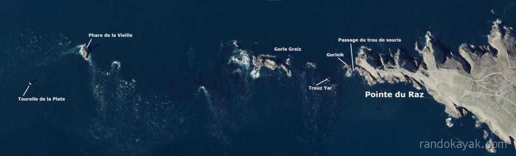 Repères pour les kayakistes de mer à la pointe du Raz : Trou de souris, Gorleik, Trouz Yar, Gorle Greiz, La Vieille, La Plate.