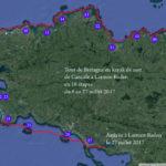 Itinéraire et tracé de notre grande randonnée du Tour de Bretagne en kayak de mer, de Cancale à Larmor-Baden, en 20 jours.